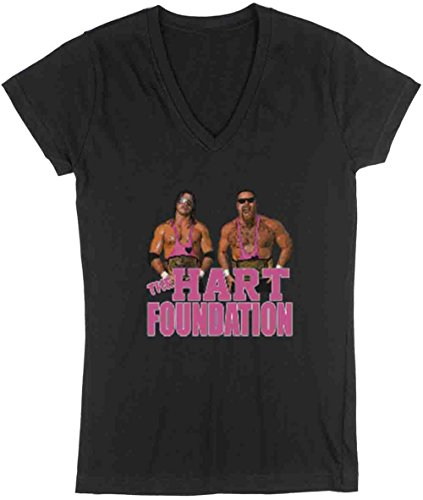 The Silo BLACK The Hart Foundation WWF LADIES V-NECK ADULT by The Silo