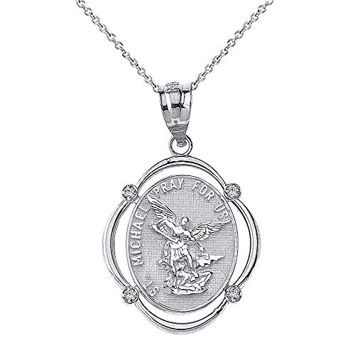 Solid 10k White Gold Archangel St. Michael Pray For Us Diamond Oval Frame Pendant Necklace, 20