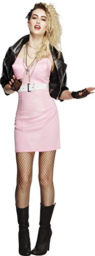 Fever Smiffys Women's 80's Rocker Diva Costume, Dress, Jacket, Belt, Necklace and Headband, Retro, Size 6-8, (80s Diva Adult Costume)