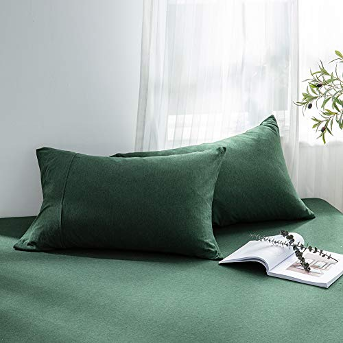 DOUH Jersey Knit Cotton Pillowcase 2 Pack Standard/Queen Size 20x26 Dark Green Pillow Case with Envelope Closure-Light Weight, Comfortable, Extremely Durable ()