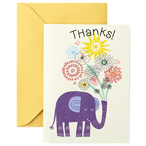 Hallmark Thank You Note, Unicef Elephant (Unicef Cards Birthday)