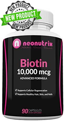 Biotin 10000mcg Supplement - Hair Skin and Nails Vitamins for Women and Men– Biotin for Hair Growth - Biotina para el Cabello 10000 -Vegetarian Friendly- Non-GMO FDA Inspected 90 Capsules by Neonutrix