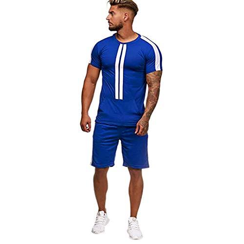 Of Art Shaving Mask The - YKARITIANNA Mens Summer Leisure Stripe Color Collision Short Sleeve Shorts Sports Thin Sets
