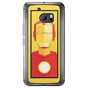 Loud Universe HTC M10 Super Heroes Iron Man Tony Stark Triangular Printed Transparent Edge Case - Yellow