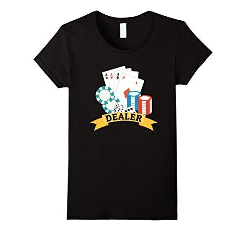 Womens Casino Dealer T-shirt - Chips Cards Poker Large (Female Casino Dealer Costume)