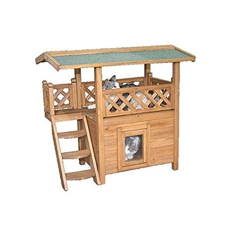 Gato Casa - Gato Villa - Gato hogar con Balcón y Salón de Madera para interior y exterior: Amazon.es: Productos para mascotas