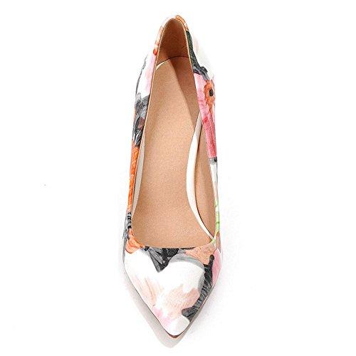 COOLCEPT Mujer Moda sin Cordones Boca Baja Zapatos Tacon de Aguja Puntiagudo Zapatos Verde Floral
