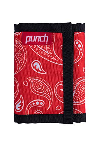 Trifold nylon wallet. Durable non leather, weather proof, ballistic nylon. Punch (Red Feather)
