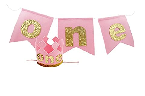 PoshPeanut One Baby Girls Felt Birthday Party Crown Hat Baby Kid to Toddler Size with FREE Pennant Happy Birthday Girl High Chair Banner Garland Sign