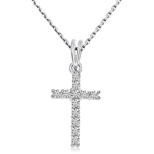 0.05 Carat (ctw) 14k White Gold Round Diamond Small Petite Simple Prong Set Cross Pendant with 18