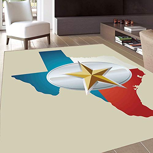 Rug,Floor Mat Rug,Texas Star,Area Rug,Cowboy Belt Buckle Star Design with Texas Map Southwestern Parts of America,Home mat,6'6