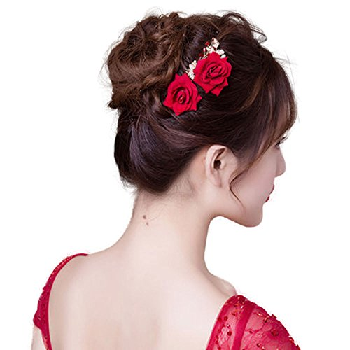 ClassicBeauty Beautiful Red Flower Hair Comb New 2017 Wedding Women and Girls Hair Accessories Bridesmaids (Luau Hairstyles)