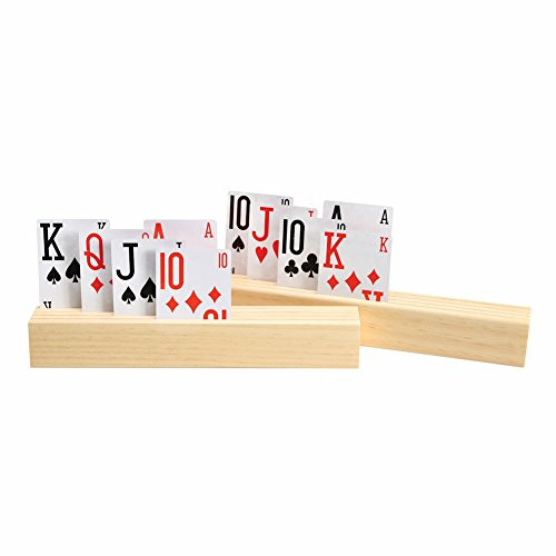 Wooden Playing Card Holders (4-Slot Wooden Card Holder - Includes 2 Holders)