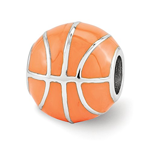 Sterling Silver & Orange Enameled Basketball Bead Charm