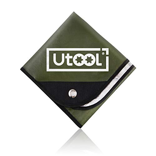 UTOOL Heavy Duty Emergency Blanket, Extra Large Thermal Tarp Reflective Survival Outdoor Emergency Blanket with Water Proof, 93% Heat Retention, Tear Resistant, Reusable Features, Army Green