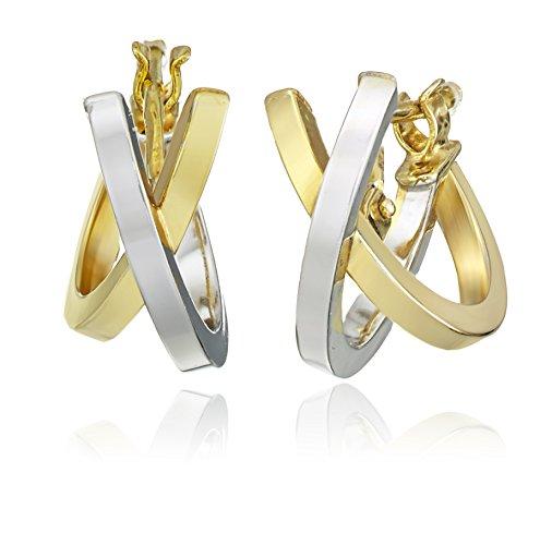 14k White and Yellow Gold Italian Semi Hoop Earrings