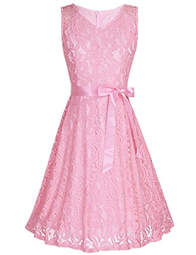 Iiniim Damen Kleid Armellos Vintage Spitze Floral Kleid Abendkleid