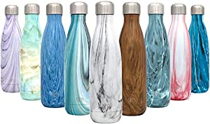 Simple Modern 17 oz Wave Water Bottle - Stainless Steel Swell Hydro Metal Flask - Wide Mouth Double Wall Vacuum Insulated Reusable Small Kids Coffee Leak Proof Thermos - Carrara Marble
