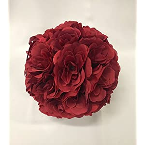 MicroMall 9.84 Inch Romantic Rose Pomander Flower Balls for Wedding Centerpieces Decorations Multicolour (Wine Red) 24