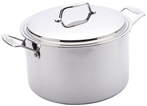USA Pan 1520CW-1 Cookware 5-Ply Stainless Steel 8 Quart Stock Pot with Cover, Oven and Dishwasher Safe, Made in the USA, Silver