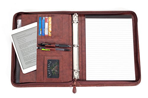 (Professional Business Padfolio Portfolio Briefcase Style Organizer Folder with Handles Notepad and 3 Ring Binder - Brown Synthetic Leather)