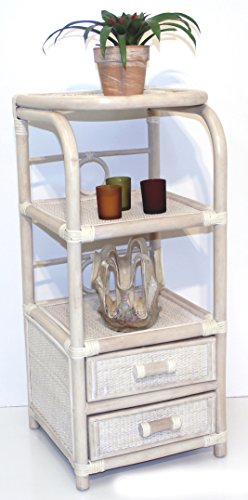 (Handmade Bookcase Designer ECO Rattan Wicker with 2 Drawers, Cream)