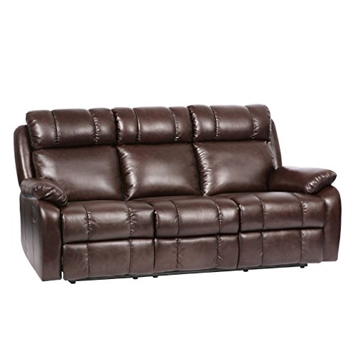 BestMassage recliner sofa Manual Reclining Leather Living Room Furniture Brown Reclining Sofa