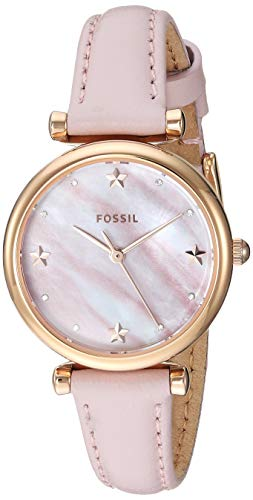 - Fossil Women's Mini Carlie Stainless Steel Quartz Watch with Leather Strap, Pink, 22 (Model: ES4525)