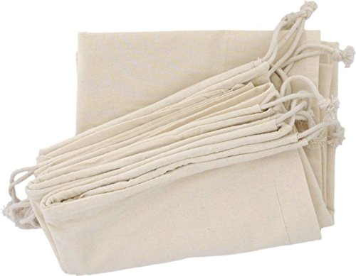 Price comparison product image 100 Percent Cotton Muslin Drawstring Bags 6-Pack For Laundry (24 x 34 inch,  White)