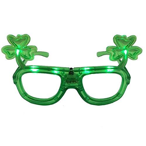 St. Patrick's Glasses, Lights Flashing Shamrock Shape Eye Glasses (1 Piece)