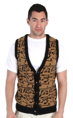 80's Movie Ferris Bueller's Day Off Button Up Costume Sweater Vest (Adult X-Large) Black/Gold