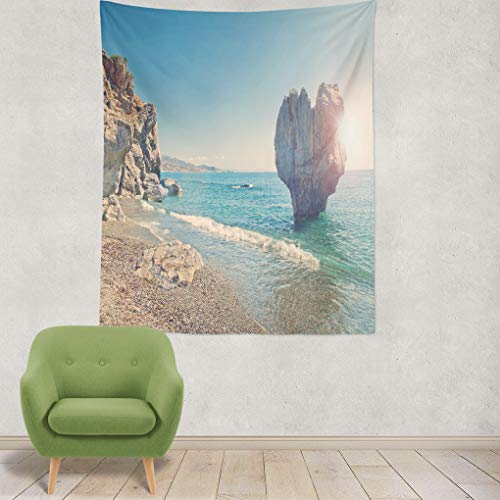haped Rock Beach with Sun Shining Behind Greek Sea Art Nature Home Decorations for Living Room Bedroom Dorm Decor in 80x60 Inches ()