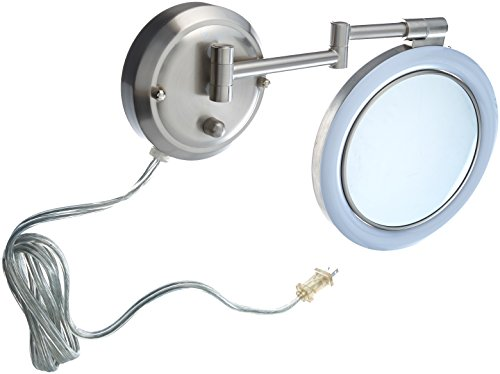 - Zadro 10X/1X Magnification Surround Lighted Dual-Sided Dimmable, Wall Mirror, Satin Nickel Finish