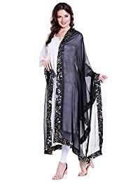 Dupatta Bazaar Women's Black Chiffon Dupatta with Mirror work lace.