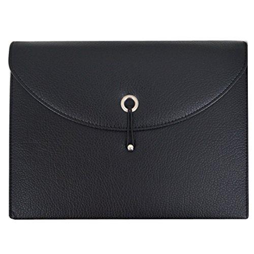 (Accordion File Folder Expandable Portable Document Wallet Briefcase PU Leather Business File Organizer Bag(Black))
