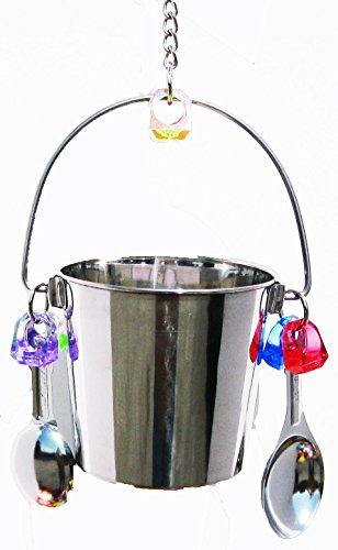 1054 Big Fun Bucket Bird Toy parrot cage stainless steel toys cages african grey (Stainless Steel Parrot Toys)