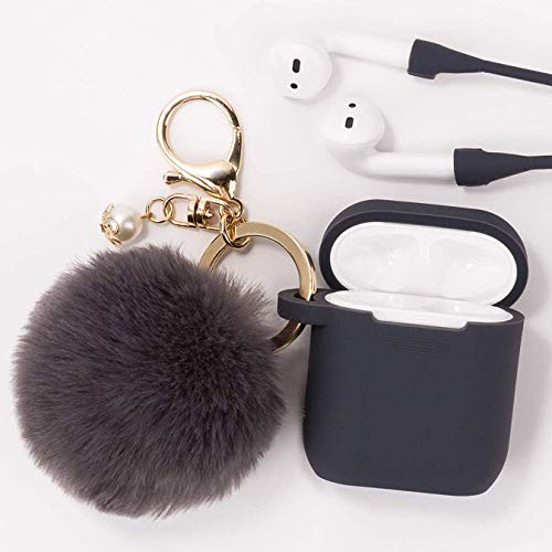 Airpods Case - Filoto Airpods Silicone Case Cover with Fur Ball Keychain/Strap for Apple Airpod (Grey)