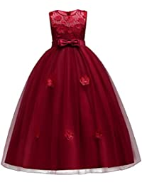 Little Big GirlsTulle Retro Vintage Dresses Flower Lace Pageant Party Wedding Floor Length Dance
