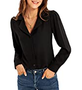 GRACE KARIN Women's Button Down Shirts Casual Long Sleeve Business Work Blouse Tops V Neck