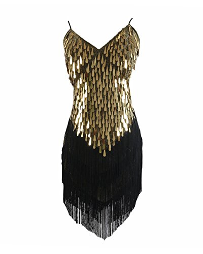 Fringe Gold Flapper Costumes (Syne Sun Women's 1920s Gatsby Art Deco Tassel Fringe Sway Flapper Costume Dress (Glam Gold/black))