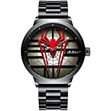 Men's Fashion Sports Watches Personality Spider-Man Full Stainless Steel Quartz Hollow Waterproof Cool Casual Wristwatches (Red)