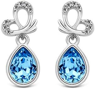 T400 Jewelers 925 Sterling Silver Crystal from Swarovski Earrings Love Gift