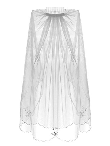 Length Embroidery Wedding Veil (2 Tier Beaded Edge Floral embroidery Wedding Veil Fingertip Length - White)