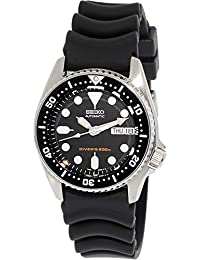 Mens SKX013K Black Rubber Automatic Watch with Black Dial