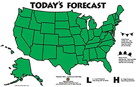 American Educational 4930 United States Weather Wall Classroom Map, 44\