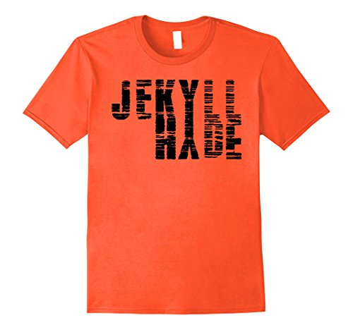 Doctor Jekyll And Mr Hyde Costume (Mens Dr. Jekyll Mr. Hyde Cool Graphic Text Design Tshirt XL Orange)