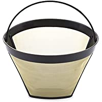Coffee Filter Jubapoz Reusable Coffee Maker Filter Cone Baskets Gold Tone Filter for Cuisinart Machines and Brewers