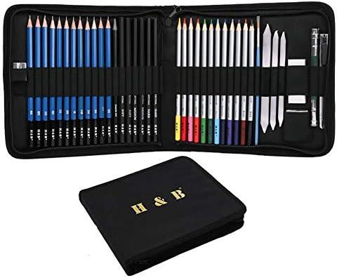 Set De Lapices De Dibujo,Bosquejo LáPices De Dibujo Del ArtíStico Profesional Profesionales Pintura Para NiñOs-Set Estuche PortáTil(40pcs): Amazon.es: Oficina y papelería