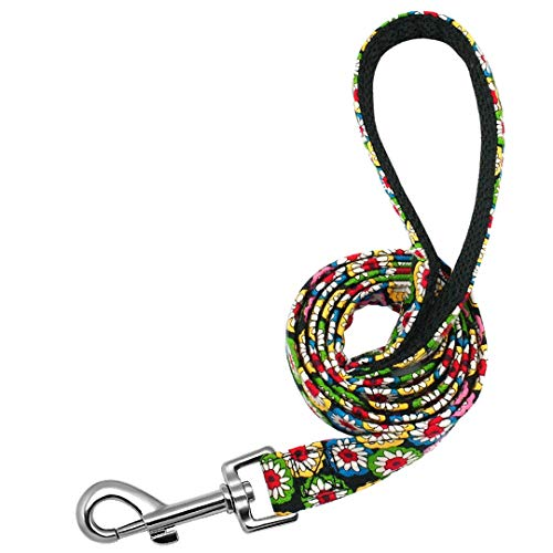 JDDCWO Pet Dog Leash Nylon Print Dog Leashes Rope Small Medium Lead for Dogs Cat Puppy 120Cm Soft Breathable Chihuahua Walking Leads Red 120cm
