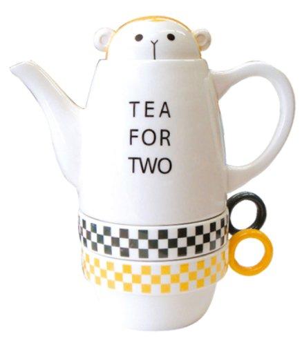 Tea For Two Porcelain Teapot and 2 Tea Cups Set - Monkey